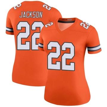 Women's Nike Denver Broncos Kareem Jackson Orange Color Rush Jersey - Legend