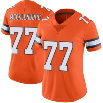 Women's Nike Denver Broncos Karl Mecklenburg Orange Color Rush Vapor Untouchable Jersey - Limited