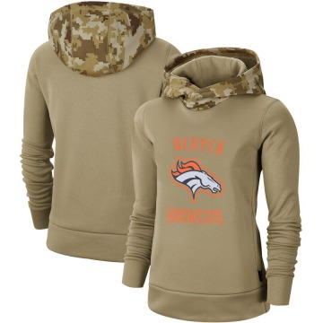 Women's Nike Denver Broncos Khaki 2019 Salute to Service Therma Pullover Hoodie -