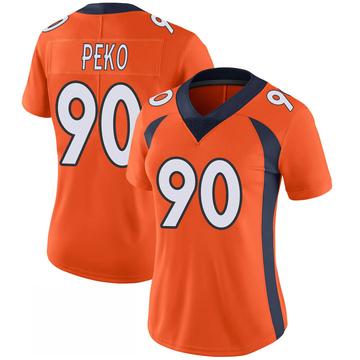Women's Nike Denver Broncos Kyle Peko Orange 100th Vapor Jersey - Limited