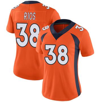 Women's Nike Denver Broncos Marcus Rios Orange Team Color Vapor Untouchable Jersey - Limited