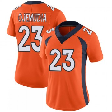 Women's Nike Denver Broncos Michael Ojemudia Orange 100th Vapor Jersey - Limited