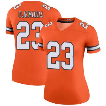 Women's Nike Denver Broncos Michael Ojemudia Orange Color Rush Jersey - Legend