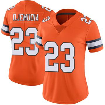 Women's Nike Denver Broncos Michael Ojemudia Orange Color Rush Vapor Untouchable Jersey - Limited