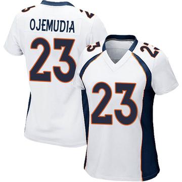Women's Nike Denver Broncos Michael Ojemudia White Jersey - Game