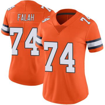 Women's Nike Denver Broncos Nico Falah Orange Color Rush Vapor Untouchable Jersey - Limited