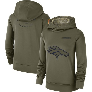 Women's Nike Denver Broncos Olive 2018 Salute to Service Team Logo Performance Pullover Hoodie -
