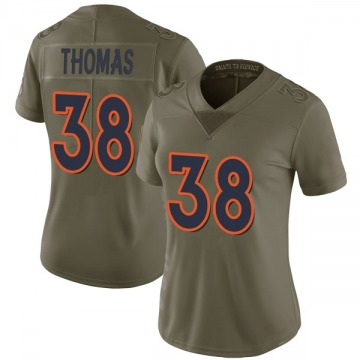 Women's Nike Denver Broncos Shamarko Thomas Green 2017 Salute to Service Jersey - Limited