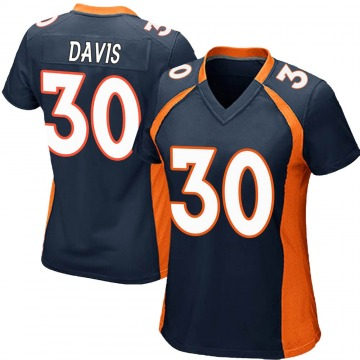 Women's Nike Denver Broncos Terrell Davis Navy Blue Alternate Jersey - Game