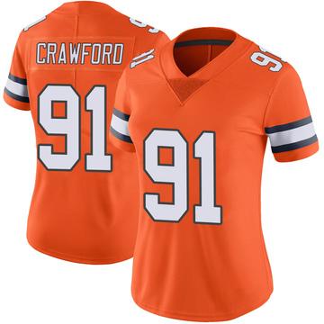 Women's Nike Denver Broncos Tre' Crawford Orange Color Rush Vapor Untouchable Jersey - Limited