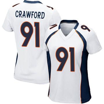 Women's Nike Denver Broncos Tre' Crawford White Jersey - Game