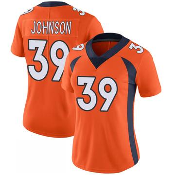 Women's Nike Denver Broncos Trey Johnson Orange 100th Vapor Jersey - Limited