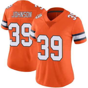 Women's Nike Denver Broncos Trey Johnson Orange Color Rush Vapor Untouchable Jersey - Limited