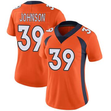 Women's Nike Denver Broncos Trey Johnson Orange Team Color Vapor Untouchable Jersey - Limited