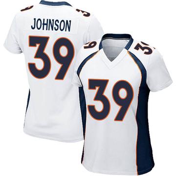 Women's Nike Denver Broncos Trey Johnson White Jersey - Game