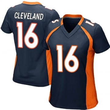 Women's Nike Denver Broncos Tyrie Cleveland Navy Blue Alternate Jersey - Game