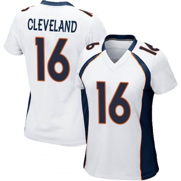 Women's Nike Denver Broncos Tyrie Cleveland White Jersey - Game