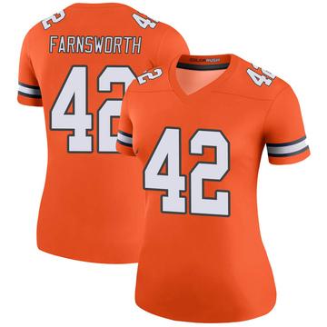Women's Nike Denver Broncos Wes Farnsworth Orange Color Rush Jersey - Legend