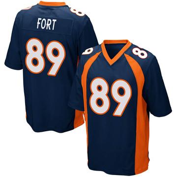 Youth Nike Denver Broncos Austin Fort Navy Blue Alternate Jersey - Game
