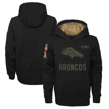 Youth Nike Denver Broncos Black 2020 Salute to Service Pullover Performance Hoodie -