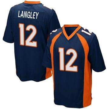 Youth Nike Denver Broncos Brendan Langley Navy Blue Alternate Jersey - Game