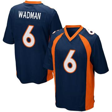 Youth Nike Denver Broncos Colby Wadman Navy Blue Alternate Jersey - Game