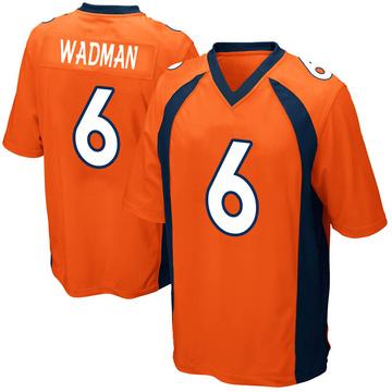 Youth Nike Denver Broncos Colby Wadman Orange Team Color Jersey - Game