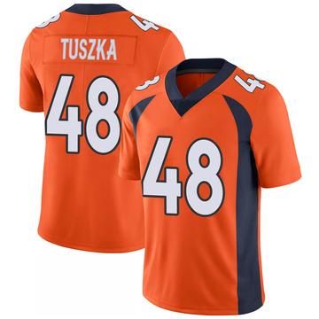 Youth Nike Denver Broncos Derrek Tuszka Orange 100th Vapor Jersey - Limited