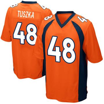 Youth Nike Denver Broncos Derrek Tuszka Orange Team Color Jersey - Game