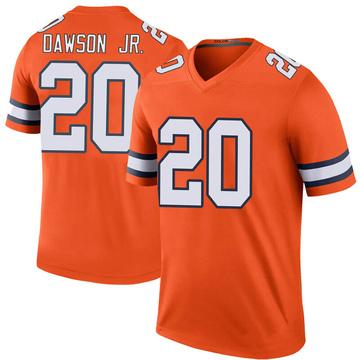 Youth Nike Denver Broncos Duke Dawson Jr. Orange Color Rush Jersey - Legend