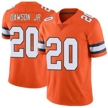 Youth Nike Denver Broncos Duke Dawson Jr. Orange Color Rush Vapor Untouchable Jersey - Limited