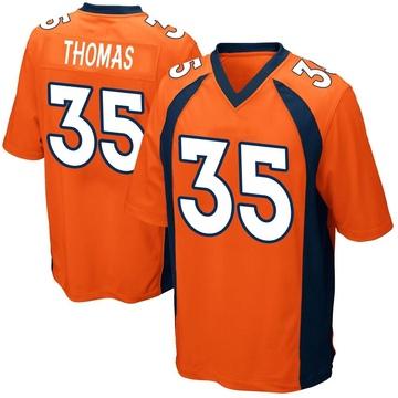 Youth Nike Denver Broncos Dymonte Thomas Orange Team Color Jersey - Game