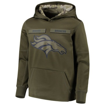 Youth Nike Denver Broncos Green 2018 Salute to Service Pullover Performance Hoodie -