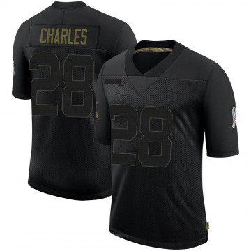 Youth Nike Denver Broncos Jamaal Charles Black 2020 Salute To Service Jersey - Limited