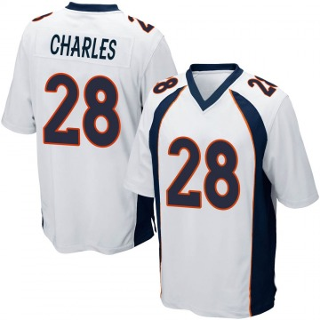 Youth Nike Denver Broncos Jamaal Charles White Jersey - Game
