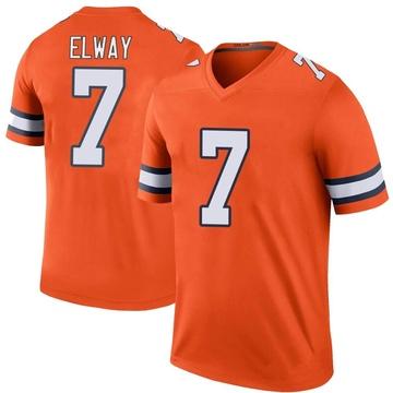 Youth Nike Denver Broncos John Elway Orange Color Rush Jersey - Legend