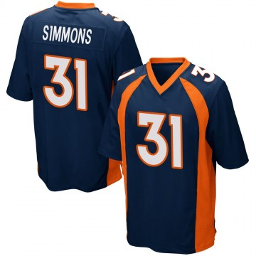 Youth Nike Denver Broncos Justin Simmons Navy Blue Alternate Jersey - Game