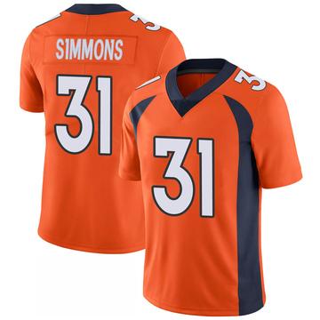 Youth Nike Denver Broncos Justin Simmons Orange 100th Vapor Jersey - Limited