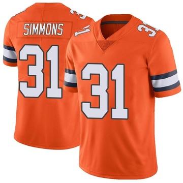 Youth Nike Denver Broncos Justin Simmons Orange Color Rush Vapor Untouchable Jersey - Limited