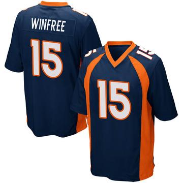 Youth Nike Denver Broncos Juwann Winfree Navy Blue Alternate Jersey - Game