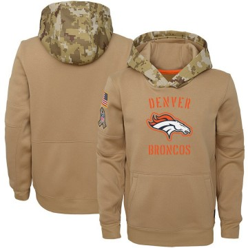 Youth Nike Denver Broncos Khaki 2019 Salute to Service Therma Pullover Hoodie -