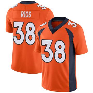Youth Nike Denver Broncos Marcus Rios Orange 100th Vapor Jersey - Limited