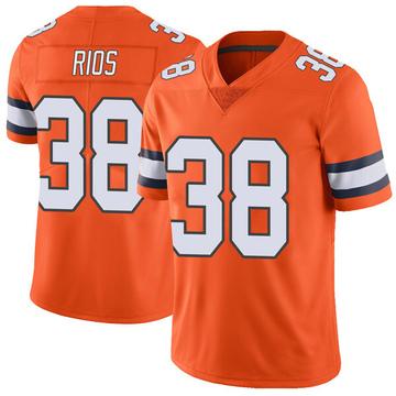 Youth Nike Denver Broncos Marcus Rios Orange Color Rush Vapor Untouchable Jersey - Limited