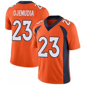 Youth Nike Denver Broncos Michael Ojemudia Orange 100th Vapor Jersey - Limited