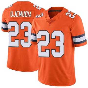 Youth Nike Denver Broncos Michael Ojemudia Orange Color Rush Vapor Untouchable Jersey - Limited