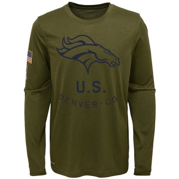 Youth Nike Denver Broncos Olive 2018 Salute to Service Performance Long Sleeve T-Shirt - Legend