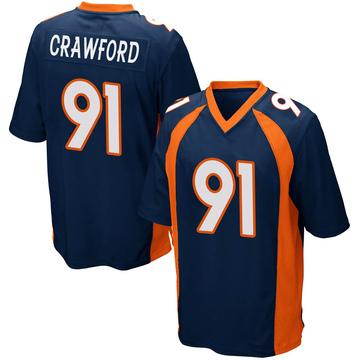 Youth Nike Denver Broncos Tre' Crawford Navy Blue Alternate Jersey - Game