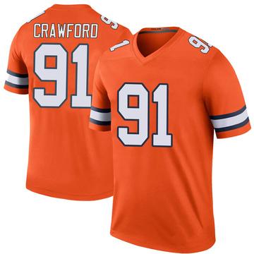 Youth Nike Denver Broncos Tre' Crawford Orange Color Rush Jersey - Legend