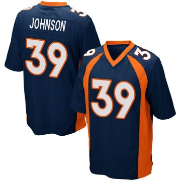 Youth Nike Denver Broncos Trey Johnson Navy Blue Alternate Jersey - Game